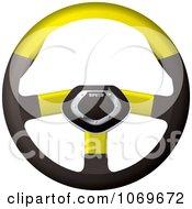 3d Yellow Racing Car Steering Wheel