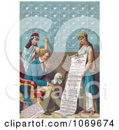 Clipart Of Lady Liberty Writing Information On The Dakota Area While Uncle Sam And A Bald Eagle Read A Scroll Held By A Female Personification Of Dakota Royalty Free Historical Stock Illustration by JVPD