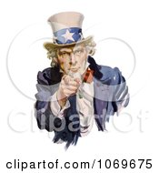 Clipart Of Intimidating Uncle Sam Pointing Out Royalty Free Historical Stock Illustration by JVPD