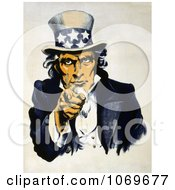 Clipart Of Uncle Sam In Blue Pointing Outwards During Navy War Recruitment Royalty Free Historical Stock Illustration by JVPD