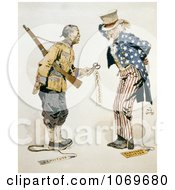 Clipart Of Chinese Soldier With Uncle Sam Enlightenment Servitude Partisan Politics Royalty Free Historical Stock Illustration by JVPD