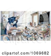 Clipart Of Uncle Sam Lecturing Children In School Royalty Free Historical Stock Illustration by JVPD
