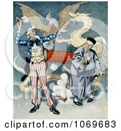 Clipart Of Uncle Sam And A Chinese Man Connected To A Firecracker With Dragon And Eagle In Background Royalty Free Historical Stock Illustration