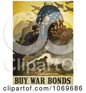 Clipart Of Uncle Sam And Military Troops Buy War Bonds Royalty Free Historical Stock Illustration by JVPD