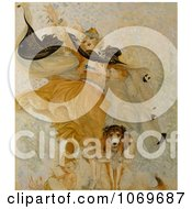 Clipart Of Woman Beside Baby And Uncle Sam Dog With Liberty Bond Royalty Free Historical Stock Illustration by JVPD