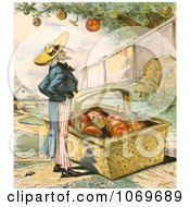 Clipart Of Uncle Sam Waiting For Apples Fall In His Basket Patient Waiters Are No Losers 1897 Royalty Free Historical Stock Illustration by JVPD