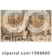 Clipart Of Uncle Sam Seated Beside Ulysses S Grant Statue Vicksburg Appomattox Royalty Free Historical Stock Illustration by JVPD