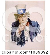 Clip Art Of Uncle Sam Wearing The Starred Hat And Pointing His Finger Royalty Free Historical Stock Illustration by JVPD
