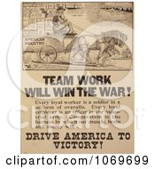 Clipart Of Uncle Sam Team Work Will Win The War Royalty Free Historical Stock Illustration by JVPD