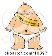New Years Baby Wearing A Happy New Year Sash Clipart Illustration by Dennis Cox