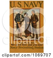 Clipart Of Uncle Sam Recruiting Young Men To The Military Royalty Free Historical Stock Illustration by JVPD