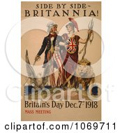 Clipart Of Uncle Sam Side By Side Britannia Britain Day 1918 Mass Meeting Royalty Free Historical Stock Illustration by JVPD