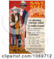 Clipart Of Uncle Sam Save Seed Corn Now Royalty Free Historical Stock Illustration