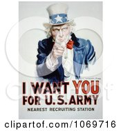 Clipart Of Uncle Sam I Want You For US Army Royalty Free Historical Stock Illustration by JVPD