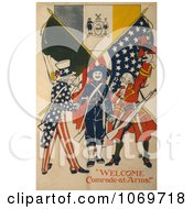 Clipart Of Welcome Comrade At Arms Uncle Sam Royalty Free Historical Stock Illustration by JVPD
