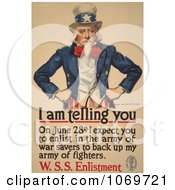Clipart Of Uncle Sam I Am Telling You To Enlist Royalty Free Historical Stock Illustration by JVPD