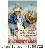 Clipart Of Uncle Sam Buy A United States Government Bond Of The 2nd Liberty Loan Of 1917 Royalty Free Historical Stock Illustration by JVPD