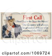 Clipart Of Uncle Sam First Call I Need You In The Navy This Minute Royalty Free Historical Stock Illustration by JVPD