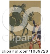 Clipart Of Uncle Sam Shaking Hands With The Marquis De Lafayette Royalty Free Historical Stock Illustration by JVPD