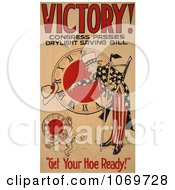 Clipart Of Uncle Sam Victory Congress Passes Daylight Saving Bill Royalty Free Historical Stock Illustration