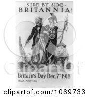 Clipart Of Uncle Sam Side By Side Britannia Royalty Free Black And White Historical Stock Illustration by JVPD