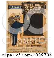 Clipart Of Uncle Sam Honor Roll Of Women Who Will Work To Win The War Royalty Free Historical Stock Illustration