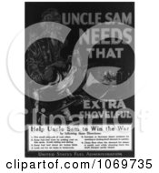 Clipart Of Uncle Sam Needs That Extra Shovelful Help Win The War Royalty Free Black And White Historical Stock Illustration by JVPD