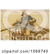Clipart Of Uncle Sam And John Pierpont Morgan Rowing Boat The Helping Hand Royalty Free Historical Stock Illustration