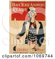 Clipart Of Have Your Answers Ready American Census State Military Royalty Free Historical Stock Illustration