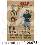 Clipart Of HELP The Womans Land Army Of America Until The Boys Come Back Royalty Free Historical Stock Illustration