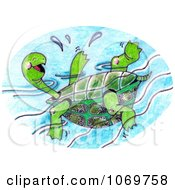 Clipart Sketched Happy Turtle Floating Royalty Free Illustration