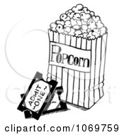 Clipart Movie Tickets And Popcorn Sketch Royalty Free Illustration by LoopyLand #COLLC1069759-0091