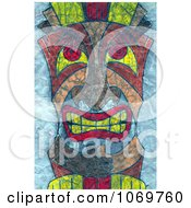 Clipart Textured Tiki Face On Blue Royalty Free Illustration