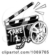 Clipart Take 1 Clapper Board And Film Reel Sketch Royalty Free Illustration by LoopyLand #COLLC1069765-0091