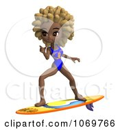 Clipart 3d Black Lifeguard Woman Surfing Royalty Free CGI Illustration by Ralf61