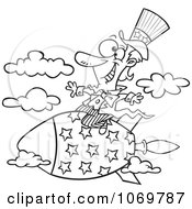 Clipart Outlined Uncle Sam Riding A Rocket Royalty Free Vector Illustration by toonaday