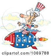 Clipart Uncle Sam Riding A Rocket Royalty Free Vector Illustration