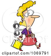Clipart Wind Up Woman Shopping On Auto Pilot Royalty Free Vector Illustration