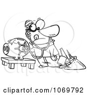 Clipart Outlined Robber Unlocking A Piggy Bank Vault Royalty Free Vector Illustration