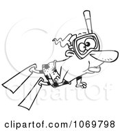 Clipart Outlined Snorkeling Man Royalty Free Vector Illustration