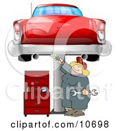Female Mechanic Working On An Old Classic Car Clipart Illustration by Dennis Cox