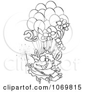 Clipart Outlined Fairy Floating With Balloons Royalty Free Vector Illustration by toonaday