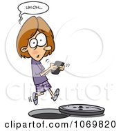 Clipart Distracted Girl Texting And Falling Into A Manhole Royalty Free Vector Illustration