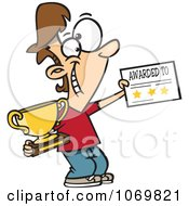 Clipart Boy Holding A Trophy And Certificate Royalty Free Vector Illustration