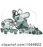 Clipart Robber Unlocking A Piggy Bank Vault Royalty Free Vector Illustration