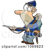 Clipart Union Soldier Holding A Rifle Royalty Free Vector Illustration by toonaday