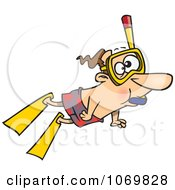Clipart Snorkeling Man Royalty Free Vector Illustration