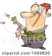 Clipart Man Playing She Loves Me With A Flower Royalty Free Vector Illustration