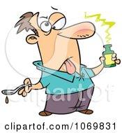 Clipart Sick Man Holding Medicine Royalty Free Vector Illustration