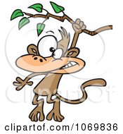 Clipart Monkey Swinging From A Branch Royalty Free Vector Illustration